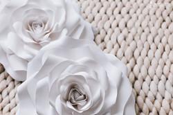 бумажные цветы и плед в фотостудии
