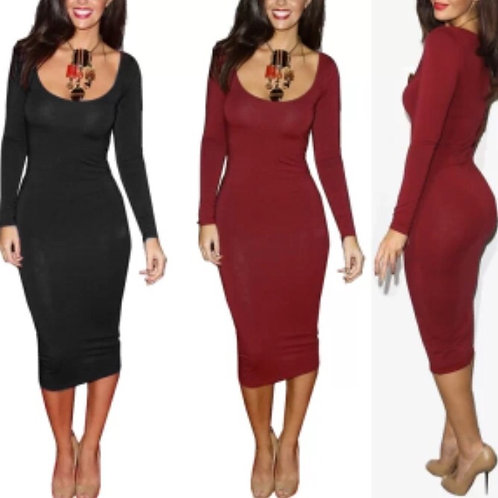 Women's U neck Midi Bodycon Pencil Dress