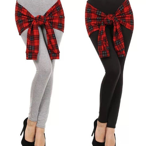 Plaid Shirt Wrap Around Tie Front Knot Leggings