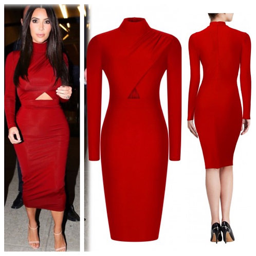 Ruby Red Keyhole Bodycon Dress
