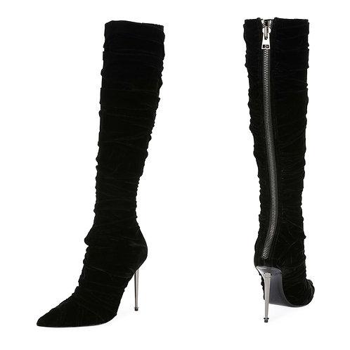 Authentic Tom Ford Pleated Velvet Knee Boot