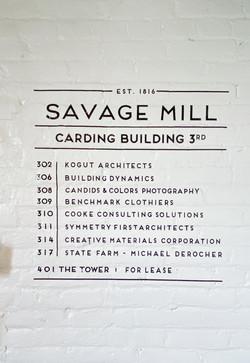 Savage Mill 3rd Floor Signage