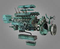 Marketing services 3D animation of a complex diesel engine