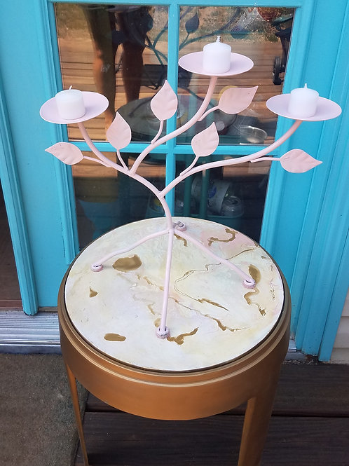 Marbled Side Table and Candelabra