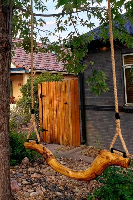 Natural wood swing