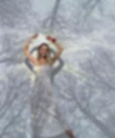 "Woman in interactive immersive art installation ""illusion"""
