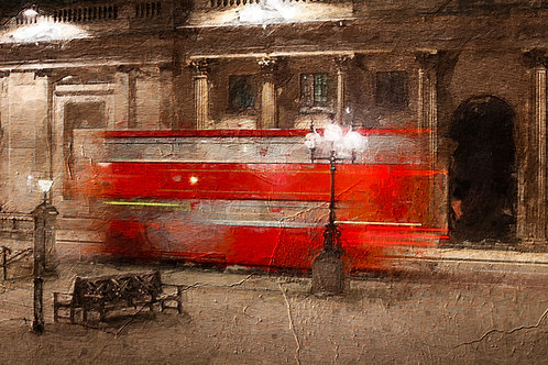 Evening Red Bus, London