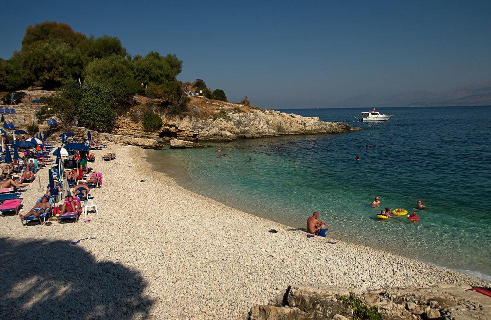 The beautiful Bataria Beach, one of several in Kassiopi