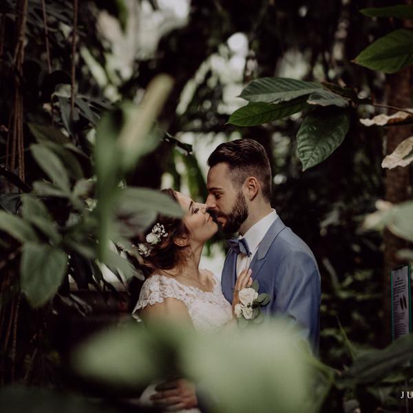 Brautpaar küsst sich vor Sträuchern