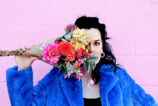 xo Rachel rabbit fur colorful coat flowers