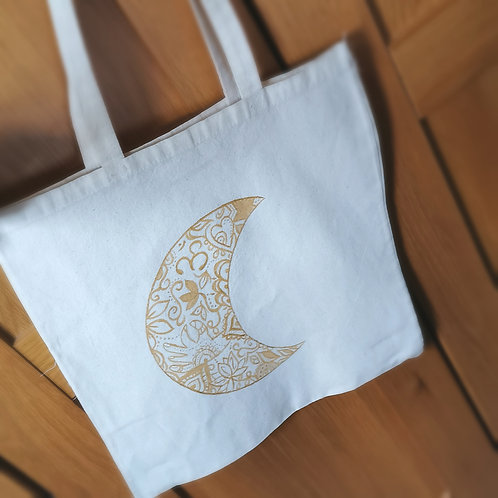 Hand Painted Cotton Bag | Gold Moon