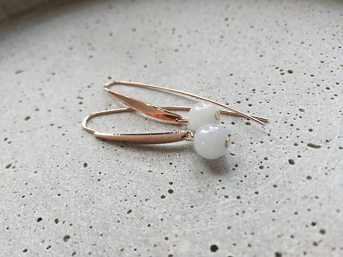 Pale Blue Agate and Rose Gold Earrings