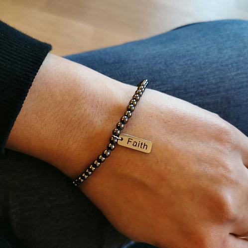 Hematite 'FAITH' bracelet