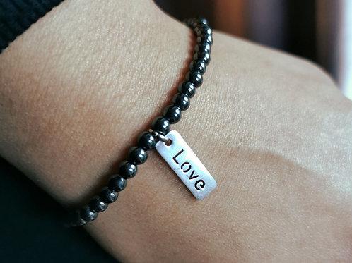 Hematite 'LOVE' bracelet