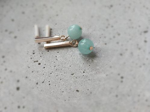 Aquamarine and Rose Gold Earrings