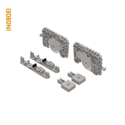Kit de apoio em plástico sobreposto com regulagem por parafuso lateral IN 080DI