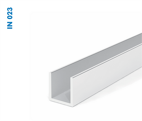"Trilho de Aluminio ""U"" inferior para porta suspensa 6,5 IN023"