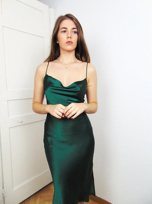 Vestido satén esmeralda