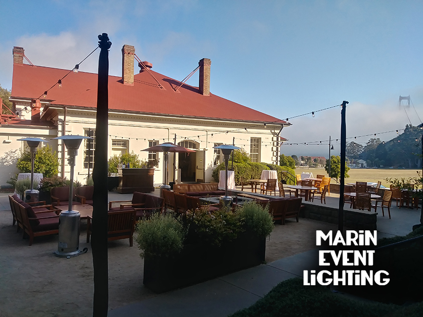 String lights at Cavallo Point by Marin Event Lighting