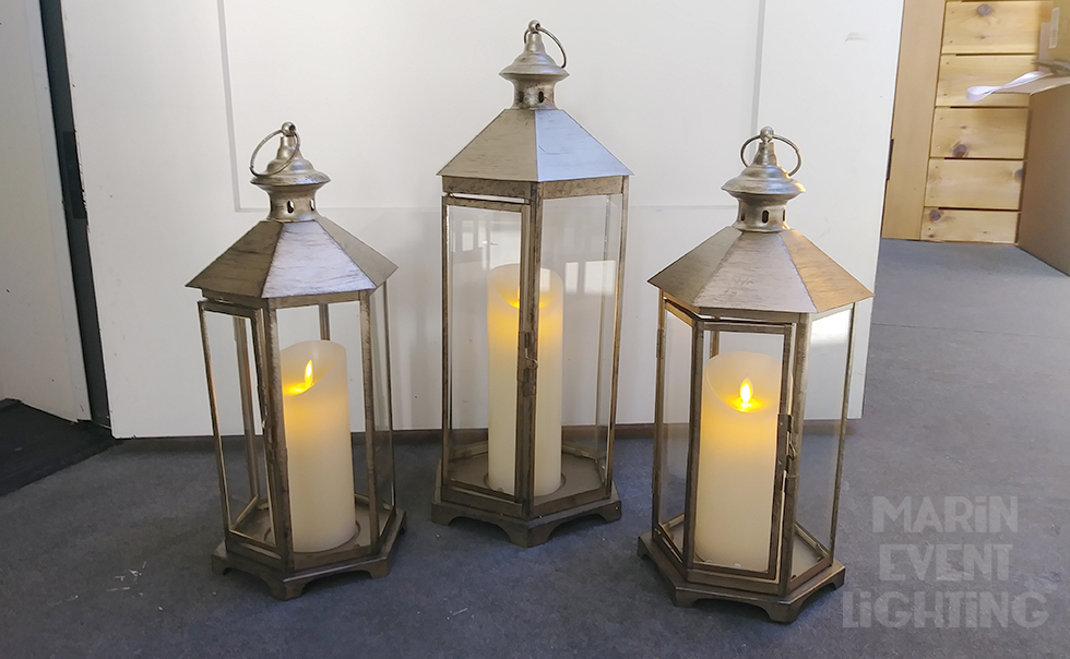 Antique Gold Lanterns with Pillar Candle