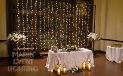 Light strand backdrop and lanterns from Marin Event Lighting