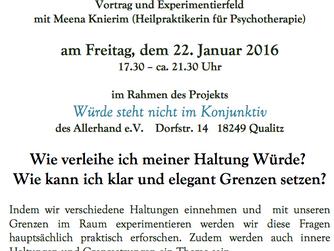 """""""Haltung und Grenzen"""" - Vortrag und Experimentierfeld mit Meena Knierim"""