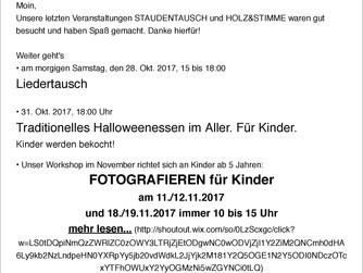 Ausklang Oktober. November 2017.