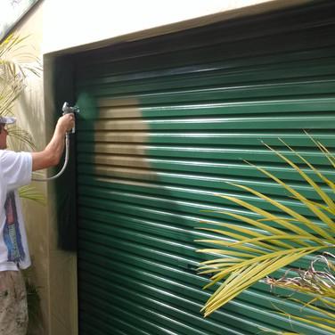 Spraying garage door