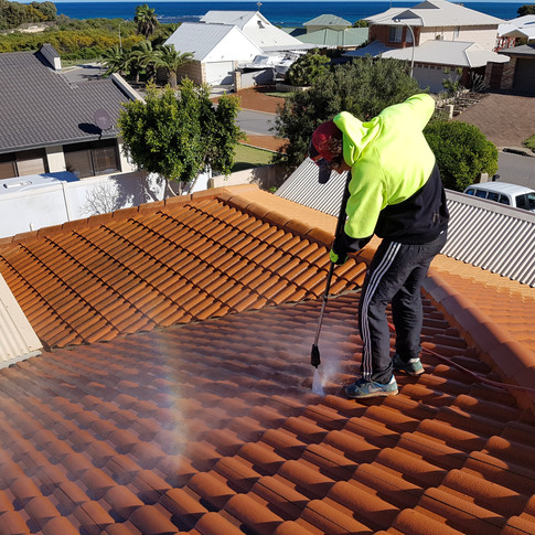 Cleaning roof tiles