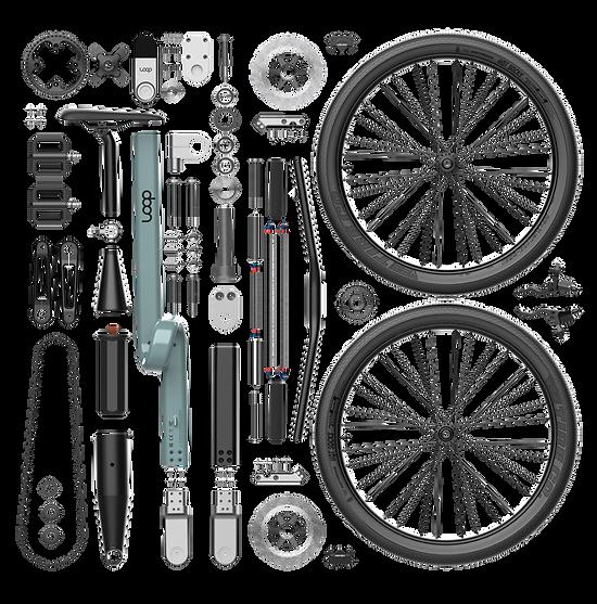 Topshot de pièces d'un vélo design, éclaté de pièces.