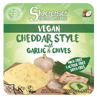 Sheese Vegan Cheese Cheddar Style with Garlic and Chives 200g