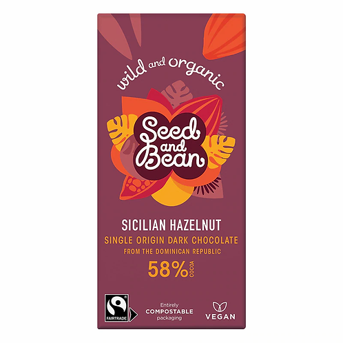 Seed and Bean orgánicos 58% chocolate negro avellana