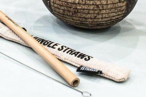 Paja de bambú, limpiador y estuche