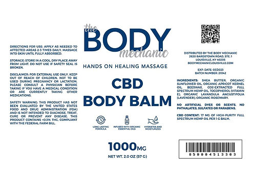 1000 MG Full Spectrum CBD Body Balm with Shea Butter (2oz)