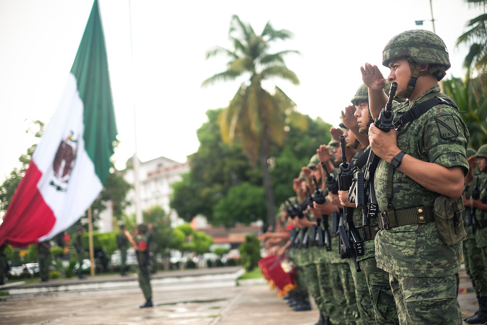 Mexican Army Soldiers perform a daybreak salute, Port of Lázaro Cárdenas (2018: Michael Jerome Wolff).