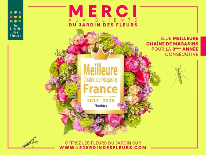 le Jardin des Fleurs élu meilleure chaine de magasins pour la 3ème année consécutive