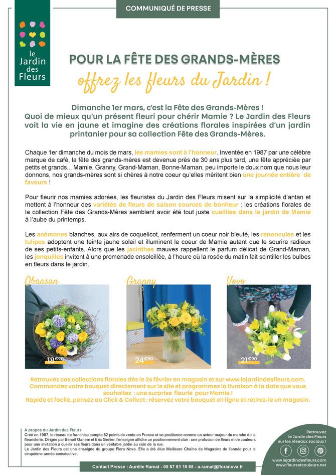 POUR LA FÊTE DES GRANDS-MÈRES offrez les fleurs du Jardin !