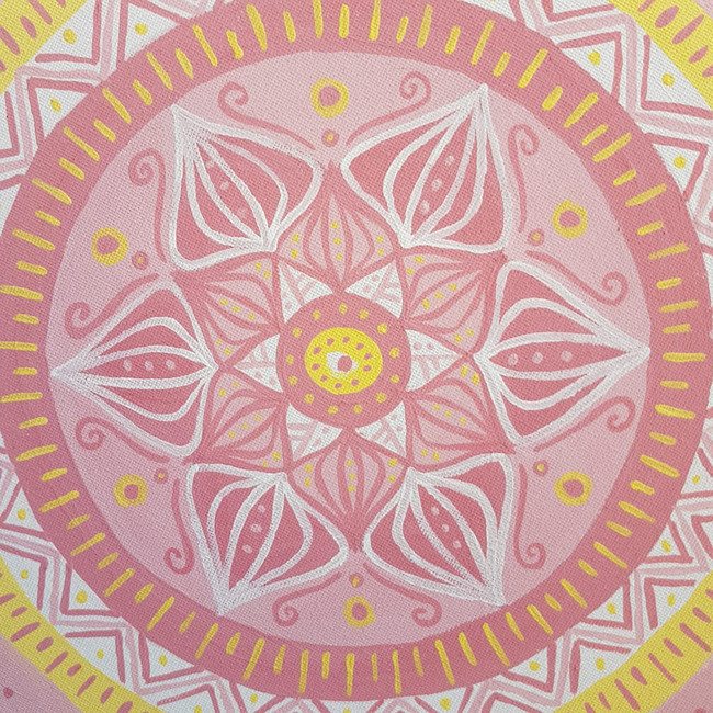 Mandala on canvas atwork