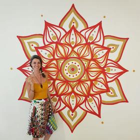 Mandala mural for a yoga studio in Merida, Mexico