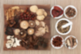 Traditional chinese herb selection used in herbal medicine on maple wood board and in porcelain bowl