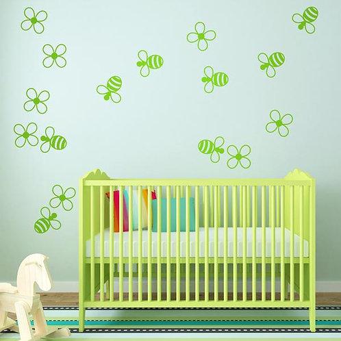 Kit de vinilo infantil abejas y flores