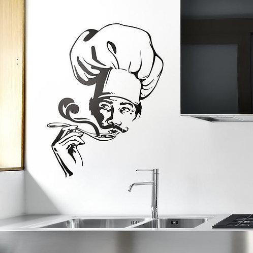 Vinilo para cocina Cocinero probando sopa
