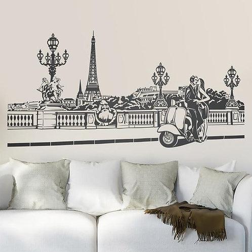 Vinilo decorativo Escena romántica en París