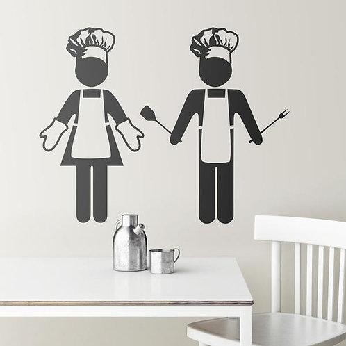 Vinilo para cocina de cocinera y cocinero