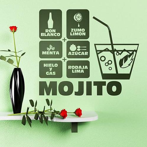 Vinilo decorativo receta cóctel mojito
