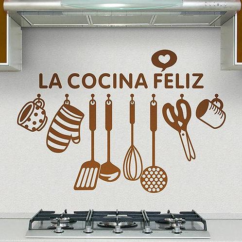 Vinilo para cocina La cocina feliz en español