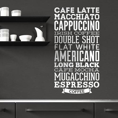 Vinilo decorativo tipos de café