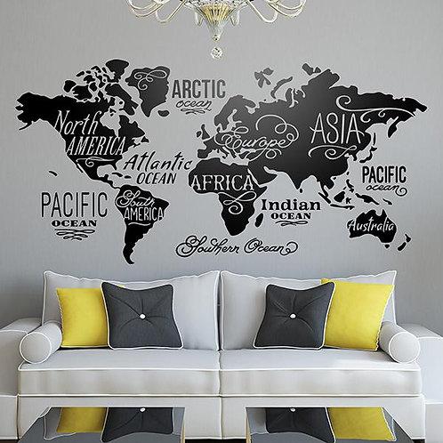 Vinilo Mapa Mundi Océanos y Continentes en inglés
