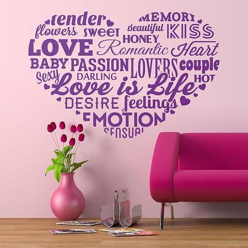 Vinilo decorativo tipográfico sobre el amor