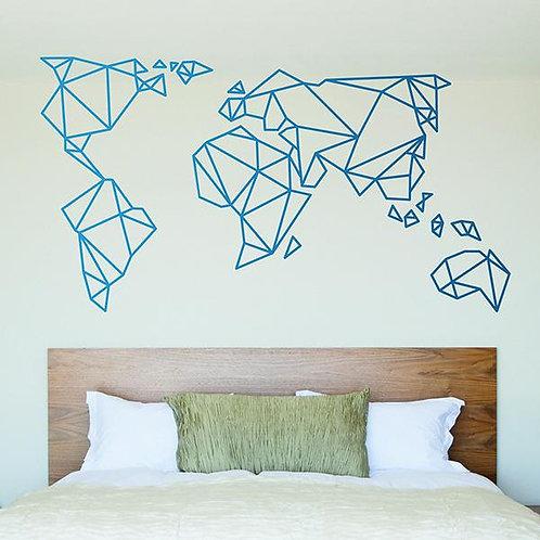 Vinilo decorativo Mapa Mundi Origami